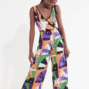 Urban Outfitters Patchwork Surplice Jumpsuit - 0